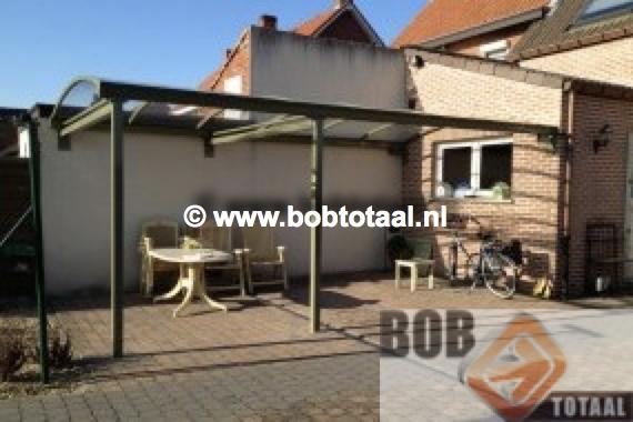 Carport als terrasoverkapping te Geel, Belgie - situatie na montage